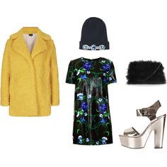 """Yellow Coat"" by workingincloset on Polyvore #workingincloset #style #fashion #outfit #Yellow #coat #blue #green"