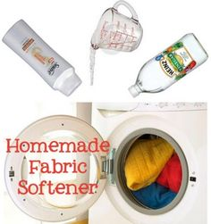Homemade Fabric Softener 2cups hot water 1cup conditioner Mix together  Add 2cups white vinegar Use about 1/4cup per load