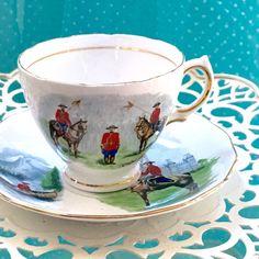 Vintage Royal Vale Tea Cup, 1970's Souvenir Canada Tea Cup, Vintage English Tea Cup, Royal Canadian Mounted Police Teacup