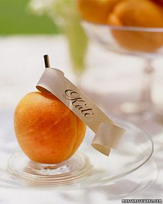 Apricot Seating Cards and Centerpieces of an orange wedding, or other colored fruit matching wedding colors Fruit Decorations, Diy Wedding Decorations, Decoration Table, Wedding Favors, Wedding Ideas, Wedding Inspiration, Fruit Centerpieces, Wedding Centerpieces, Masquerade Centerpieces