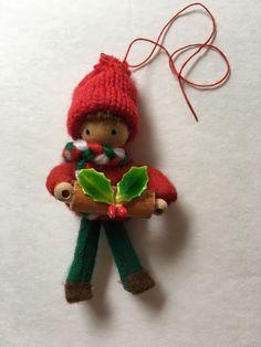 Finland Folk Art Vintage Christmas Ornament Boy Holding Wood Log And Mistletoe    eBay