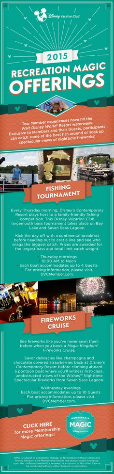 Two Disney Vacation Club Member experiences have hit the Walt Disney World Resort waterways. Participants can catch some of the best fish around or soak up spectacular views of nighttime fireworks! Click to learn about other Membership Magic offering.