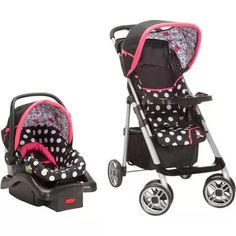 Keep fashion strollin' along! This black and pink Minnie Mouse travel system features a stroller and a Light 'n Comfy infant car seat, each adorned in the sweetest design of Minnie's signature polka dots and your favorite fashionista herself. The stroller comes complete with a parent tray, two covered cup holders, a storage area for diapers and the always necessary change of clothes, and a child snack tray and cup holder for your little one.