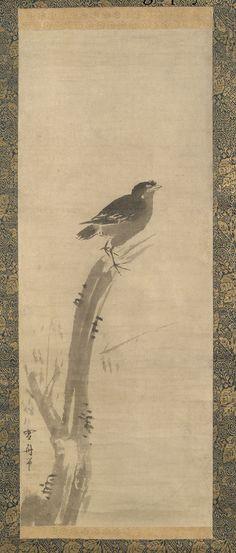 Mynah Bird. Artist/maker unknown, Japanese. Edo Period. 18th century. Ink on paper; mounted as a hanging scroll. Philadelphia Museum of Art.