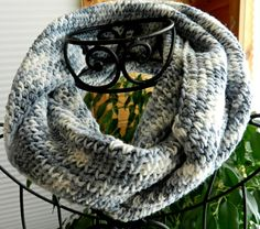 Laugh At Winter! Gray #Crocheted Warm #WomensInfinityScarf or Cowl by Cozy, $27.00 USD #Group2020