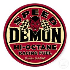 Shop Speed Demon Classic Round Sticker created by Personalize it with photos & text or purchase as is! Bicycle Tattoo, Pin Up Posters, Vintage Metal Signs, Garage Art, Logo Sign, Motorcycle Art, Old Signs, Automotive Art, Up Girl