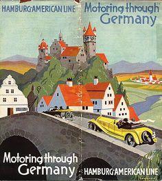 "Illustration - Germany travel poster PanAm ticket jacket, circa 1960 Vintage Travel Poster - Washington D. ""Welcome To Montana"" vintage tr. Vintage Travel Posters, Vintage Postcards, Vintage Ads, Airline Travel, Travel Brochure, Travel Ads, New York Poster, Art Graphique, Art And Illustration"