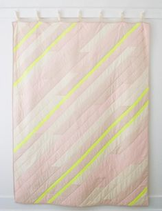not a huge fan of the neon, but love the design Diagonal Stripe Quilt | The Purl Bee