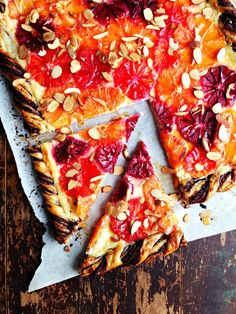 This citrus, dark chocolate and mascarpone tart would make an elegant and surprising addition to any winter table.