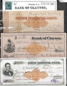 US 4 BANK OF CLAYTON (NY) ANTIQUE CHECKS 1882 PAY TO NATIONAL PARK BANK NY,NY