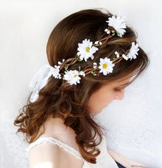 white daisy flower hair wreath, flower crown, wedding head piece, hair accessories - SPIRIT CHILD - hippie bridal hair accessory