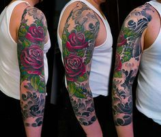 tattoo ©2014 Kore Flatmo, PluraBella, roses, flower, floral, water, waves black and gray, color, arm, sleeve, tattoo
