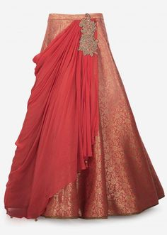 Peach brocade lehenga with pre stitched drape highlighted in zari and sequin butti solely on Kalki Lehenga Designs, Kurta Designs, Blouse Designs, Indian Dresses, Indian Outfits, Brocade Lehnga, Lehenga Pattern, Saree Gown, Wedding Dress Patterns