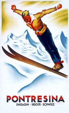 Ski Jumping Poster Travel Art Print - 46 x 61 cm Vintage Ski Posters, Retro Poster, Retro Illustration, Illustrations, Italian Posters, St Moritz, Ski Jumping, Art Graphique, Vintage Advertisements
