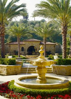 .Front yard fountain idea and landscaping design.