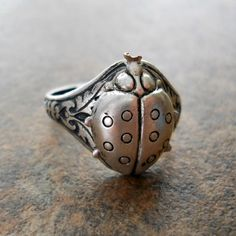 NEW DESIGN Victorian Style Ladybug Ring in by EnchantedLockets