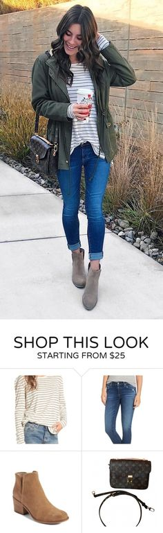 #fall #outfits women's green zip-up jacket and blue-washed jeans. Click To Shop This Look.
