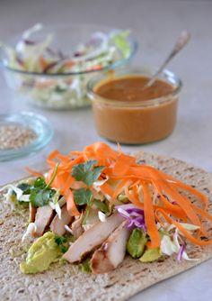 Thai Chicken Wrap with Peanut Sauce | mountainmamacooks.com