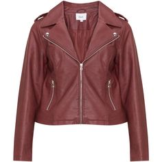 Zizzi Bordeaux-Red Plus Size Faux leather biker jacket (490 CNY) ❤ liked on Polyvore featuring outerwear, jackets, plus size, faux leather jacket, red motorcycle jacket, zip pocket jacket, plus size faux leather jacket and red faux leather jacket