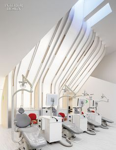Interior Design Magazine: At Greater Boston Orthodontics, a sculpted surface directs sunshine down from skylights about the ortho bay. #InteriorDesignMagazine #InteriorDesign #design #healthcare #health #doctor #office #natural #light #architecture