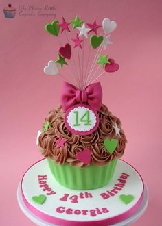 Bright Amp Fun Giant Cupcake Cake With Pretty Bow And