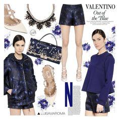 """Out of the Blue"" by luisaviaroma ❤ liked on Polyvore featuring Valentino, Blue, ROCKSTUD, luisaviaroma, lvr and Vaneltino"