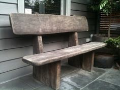 LARGE RUSTIC OLD VINTAGE OUTDOOR  SOLID TIMBER GARDEN  BENCH SEAT
