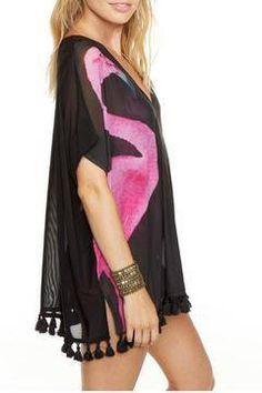 c86f6e95e54 Shoptiques Products  Flamingo Mesh Cover-Up Pom Poms