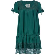 Emerald green silk dress from Fix design featuring a round neck with a lace print to the top, short sleeves with a self-tie detail, a dropped waist and a layer…