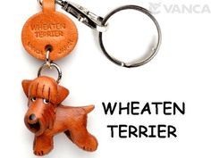 Wheaten Terrier Leather Dog Small Keycha...