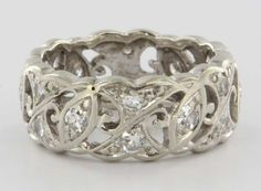Art Deco 14 Karat White Gold Diamond Wedding Band Ring Vintage 5 1/2 from preciousandrarepieces on Ruby Lane