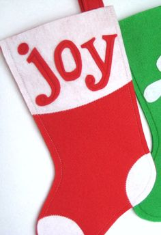 Joy Noel Modern Christmas Stocking  Choose Your by stitcholicious, $18.00
