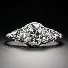 1.60 Carat Diamond Art Deco Engagement Ring - 10-1-7193 - Lang Antiques