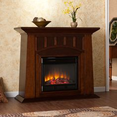 Bayard Espresso Electric Fireplace | Overstock™ Shopping - Great Deals on Upton Home Indoor Fireplaces