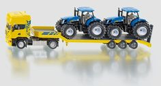 SIKU Farmer 1:50 Scale Die-Cast Scania Truck with 2 New Holland Tractors