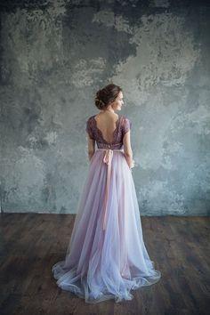 Lilac wedding dress Serenity by LiBrightWeddingDress on Etsy