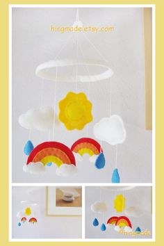 Baby Mobile  Rainbow Sun Cloud Raindrops Red Orange by hingmade, $62.00