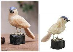 Bird Sculpture in Caramel Calcite on Onyx Stand - Sparrow of Creativity | NOVICA