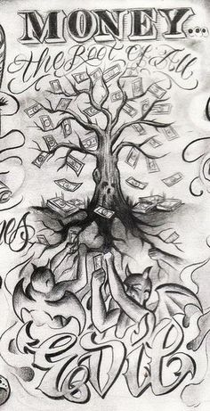 Tattoo Designs Drawings Money New Ideas – Tattoo Sketches & Tattoo Drawings New Tattoo Designs, Tattoo Design Drawings, Tattoo Sleeve Designs, Tattoo Sketches, Skull Drawings, Chicano Art Tattoos, Gangster Tattoos, Body Art Tattoos, Gangster Drawings