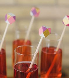Faceted Drink Stirrers - Confetti Pop