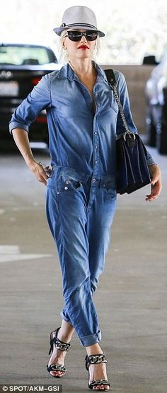 589383f4714 Gwen Stefani pulls off a jean boiler suit as she heads out with her son  Kingston