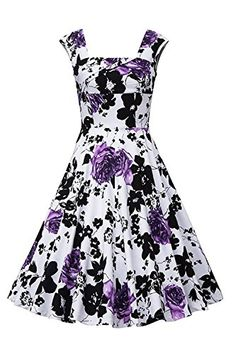 MisShow Womens Vintage Sleeveless 1950s Purple Floral Casual Cocktail Dress *** You can find more details by visiting the image link.