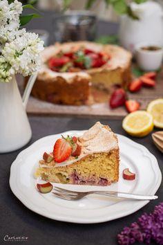 Erdbeer Rhabarber Tee Schaumschnitte, Erdbeer Kuchen Erdbber Sommerkuchen, Erdbeerkuchen