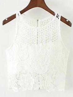 $22.99 Crochet Flower Padded Crop Top - WHITE L