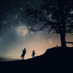 Enjoying every moment. Moon Art, Father And Son, Photo Manipulation, Digital Art, Silhouette, In This Moment, Celestial, Sunset, Dark