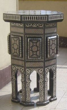 Mosaic Mother of Pearl Inlaid Wood Side Table