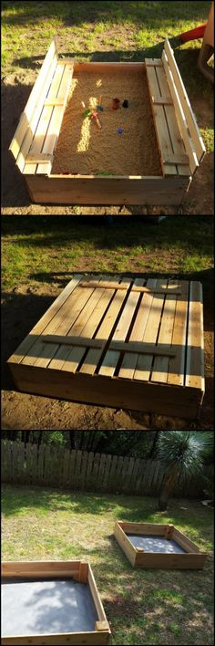 Learn How To Build A Sandbox With Cover  http://theownerbuildernetwork.co/9zwm  Is there a child anywhere who doesn't love playing in sand? Here's a great DIY sandbox that keeps the sand in and the cats out.