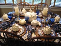 Fall table- Old Britain Castles Blue!