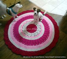 crocheted rug, and my jack russels- Sisu & Martta. Martini, Kids Rugs, Crochet, Cute, Home Decor, Decoration Home, Kid Friendly Rugs, Room Decor, Chrochet