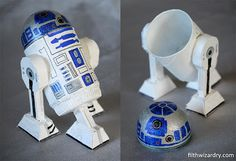 mini R2D2 made from recycled goods.